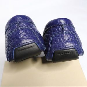Burberry Shoes - Burberry Rowles Blue Leather Loafers - Car Shoes